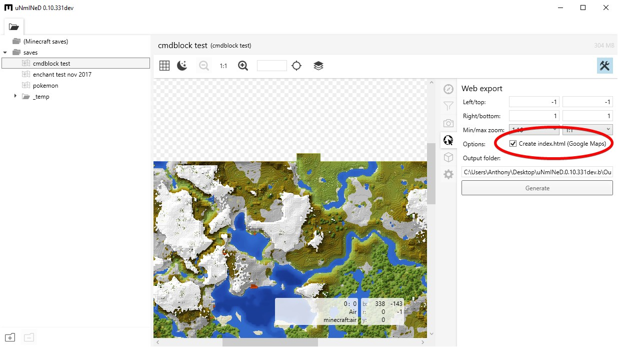 uNmINeD - 2D mapper - Minecraft Tools - Mapping and Modding: Java